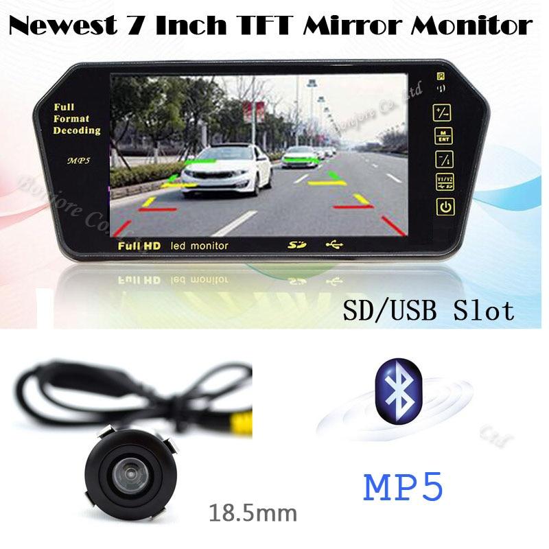 Cam/éra de Recul Voiture sans Fil 7 Pouces TFT LCD Miroir Moniteur 18 LEDs 6.5