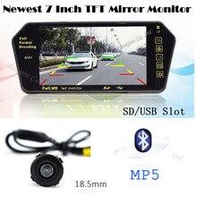 Lastest Auto 2.4G Wireless Bluetooth Mp5 Mirror monitor TFT Display USB/SD slot Mini CCD Car Rearview Reverse camera Parking