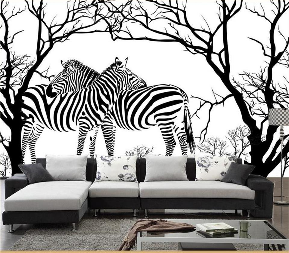 US $14 54 OFF Custom 3d Photo Wallpaper Room Mural Black And White Abstract Tree Zebra Painting TV Background Non Woven Wallpaper For Wall