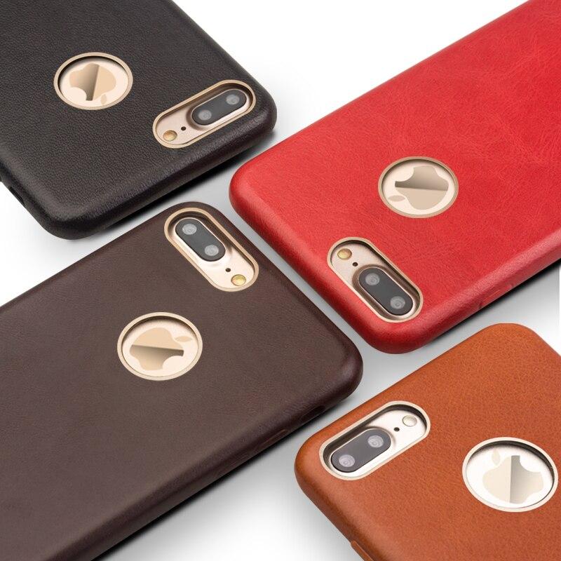 imágenes para QIALINO Ultra delgado caso de la Alta Calidad para el iphone 7 plus diseño cubierta del teléfono del tirón para el iphone 7 cuero auténtico real