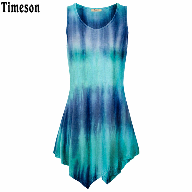 Summer Handkerchief Hem Line Women Sleeveless Top Tie-Dye Knitting Long Tunic  Tops For Women Striped Shirt Black Blue Purple a6ad00f35cf6