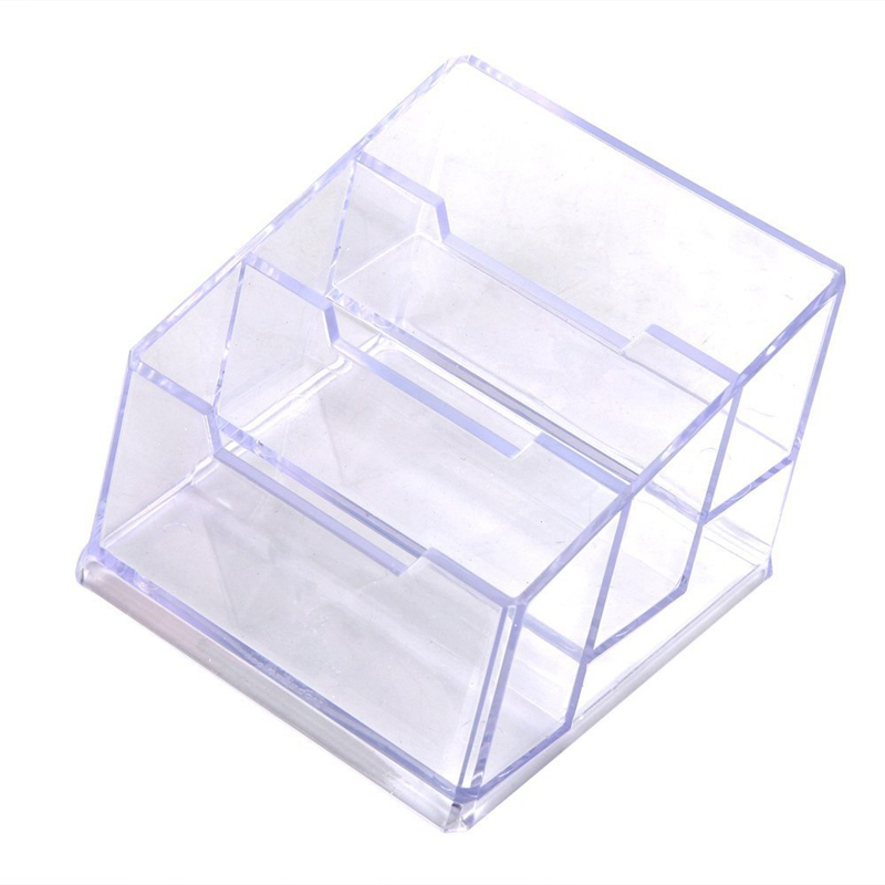 Business Card Box 3 Compartments Business Card Holder Business Card Dispenser Material NEW