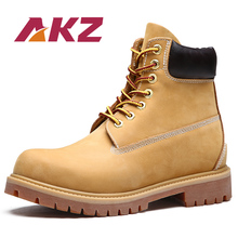 AKZ Brand Mens Boots Casual shoes 2018 Spring Autumn cow leather yellow High Quality Male Martin Boots Lace-up Round toe 35-45 цена 2017