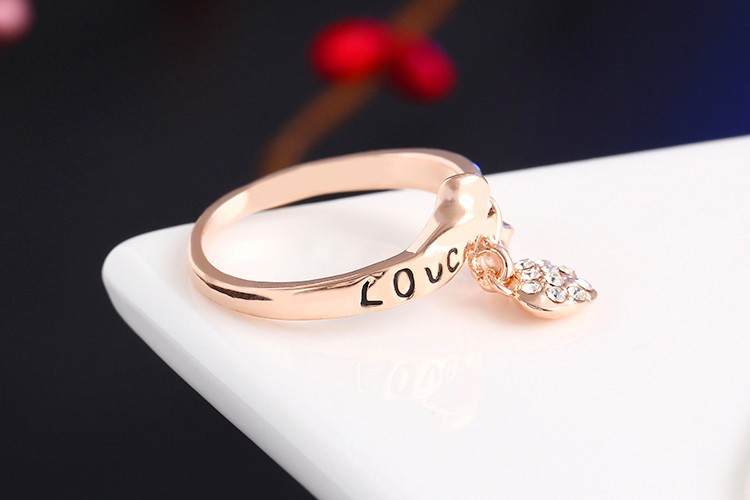 17KM Romantic Gift Retro Love Heart Bow Rings Rose Gold Color wedding Austrian Crystal Element Rings Word Ring For Women 6