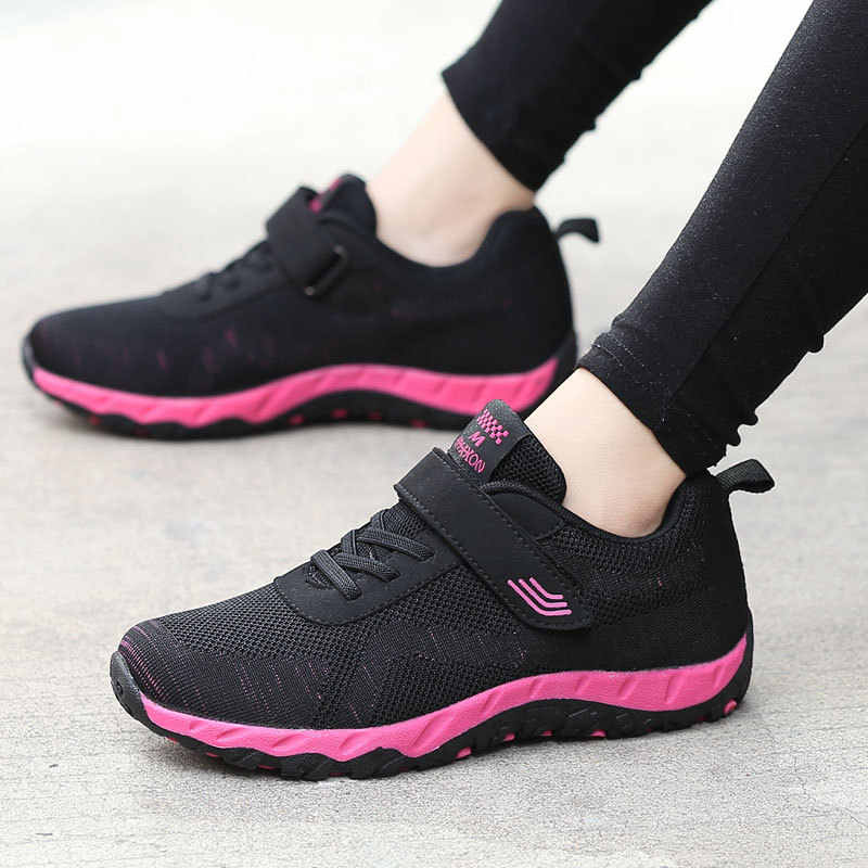 Healthy walking mother shoes woman 2019 flying woven casual shoes women sneakers female lightweight flats elderly women sneakers