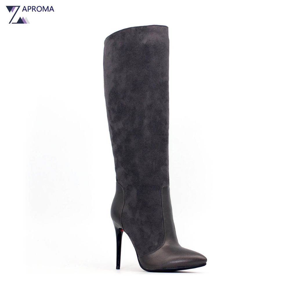 Faux Suede Sexy Boots Women Pointed Toe Over the Knee Dark Brown Short Plush Thin Heel Boot Winter Super High Heel Zipper Shoes universe women winter ankle boots cow leather point toe zipper sexy thin heel black short boot matte boots female shoes g351