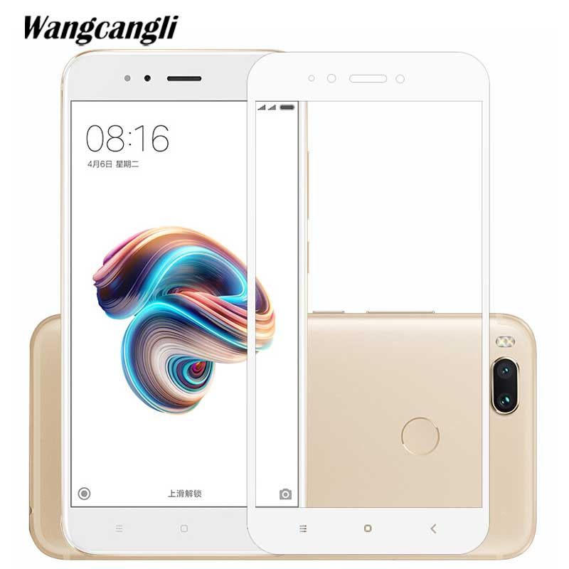 wangcangli tempered glass for xiaomi a1 glass screen Protective film glass protector for xiaomi mi a1 Explosion proof screen in Phone Screen Protectors from Cellphones Telecommunications