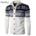 2016 Fashion Brand Cardigan Men Sweater Autumn Winter Snowflake Warm Knitted Mens Sweaters Casual Ugly Christmas Sweater Coat