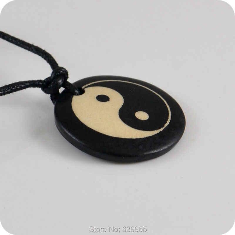 Tai Chi Yin & Yang colgante de hueso de yak, collar de amuleto, regalo de la suerte, joyería de moda Tribal