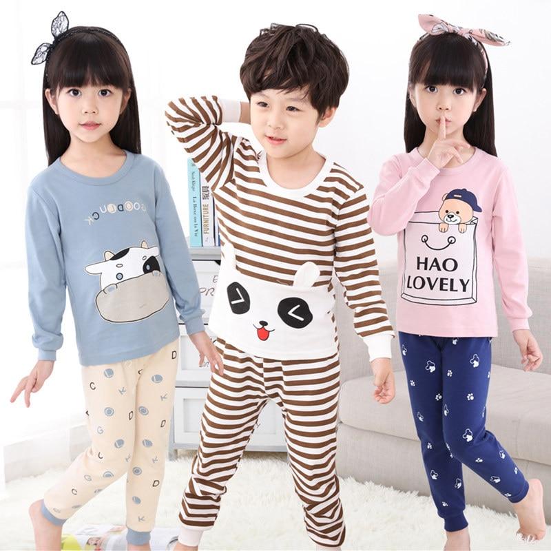 купить Winter Kids Pajamas Sleepwear Big Boys Girls Pajamas Sets 100-150cm Kids Clothes Nightwear Homewear Toddler Clothes Garcon Suits по цене 539.9 рублей