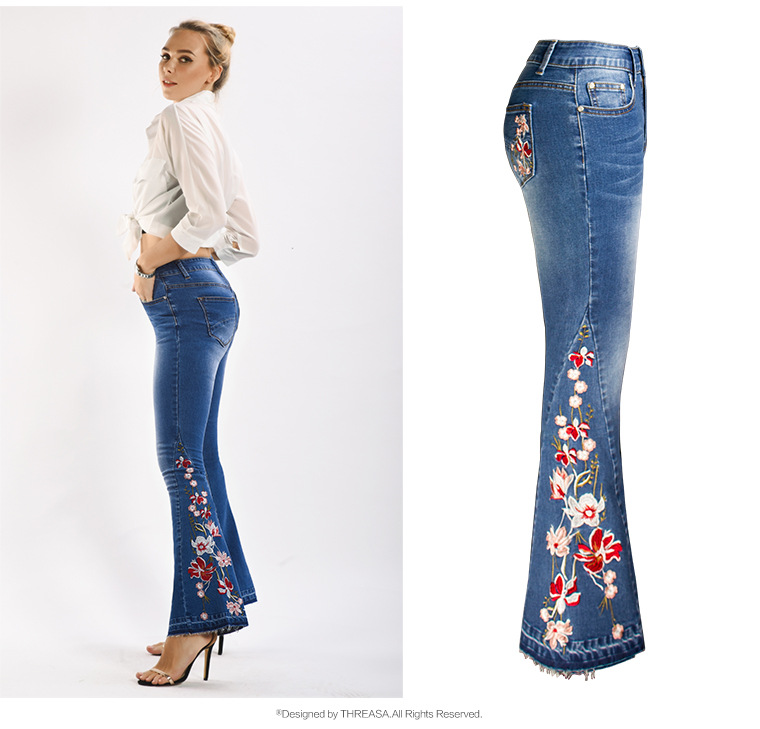 2020 Winter High Waist Jeans Mom Embroidery Boyfriend Jeans For Women Wide Leg Plus Size Bell Bottoms Denim Skinny Jeans Women 2