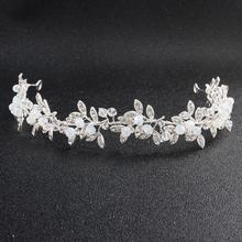 Fashion Crystal Silver Headband Handmade Hair Accessories Bride Tiaras and Crowns Prom Bridal Wedding Women Headpieces silver wedding crwon prince bridal crystal tiara crowns queen bride tiaras princess crowns headband wedding hair accessories