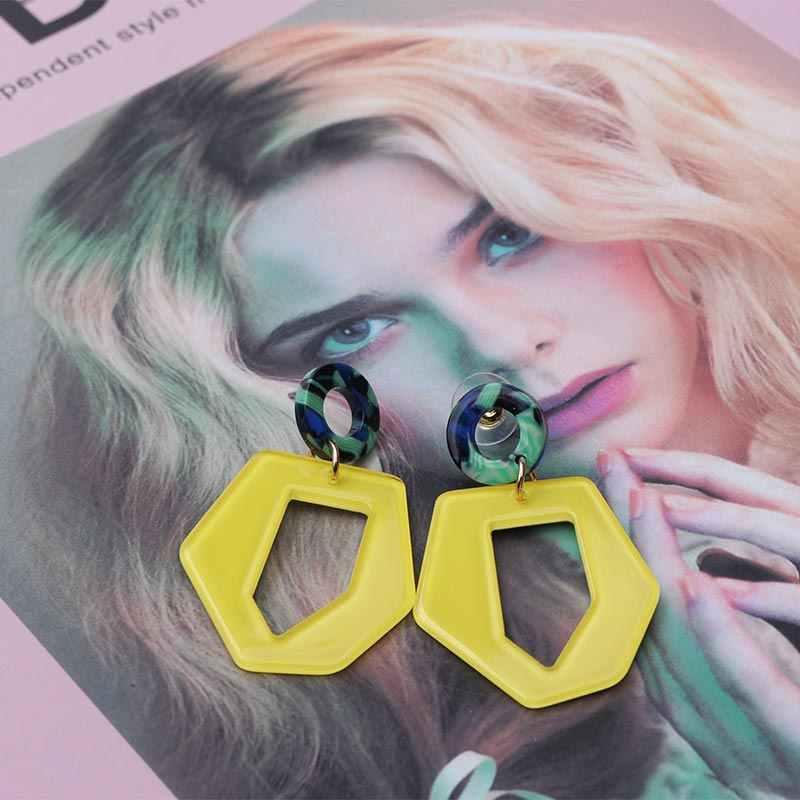 Fashion Yellow Acrylic Earrings for Women 2019 Statement Irregular Geometric Drop Earrings Boho Jewelry Hanging Earing EB263