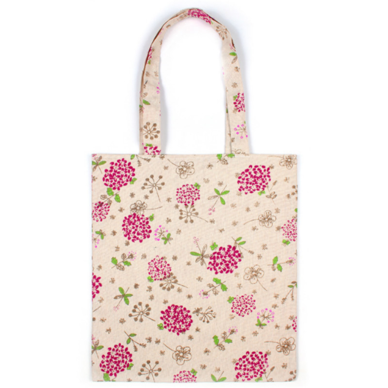 Cotton Linen Floral Printed Shopping Bag Daily Use Reusable Women Female Tote Bag