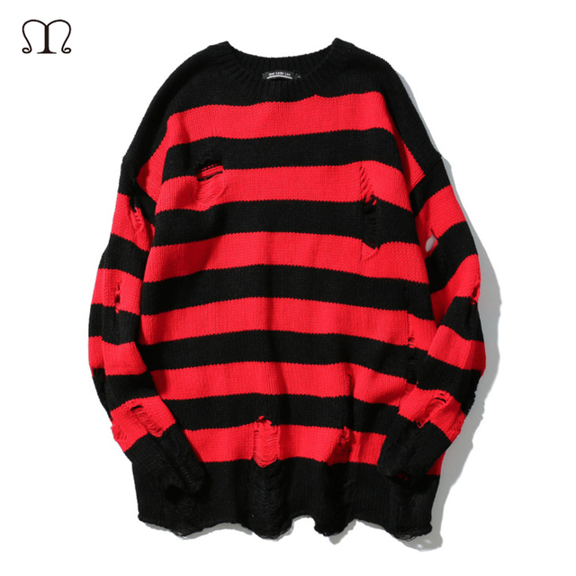 e38eba518 Mens Striped Sweaters 2018 New Hip Pop Fashion Winter Spring O Neck ...