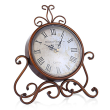 Bronze Gold Retro Wrought Iron Craft Table Clock
