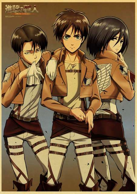 Japanese Attack On Titan Retro Poster Home Living Room ...