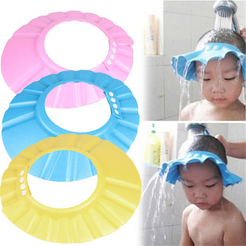 Safe Baby Shower Cap Kids Bath Hat Adjustable Protect Eyes Hair Wash Children Waterproof Cap
