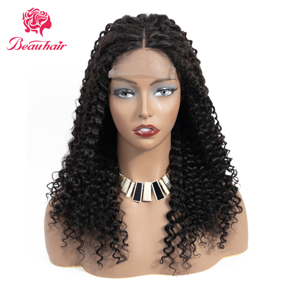 Peruvian Curly 4*4 Lace Closure Wigs Remy Human Hair Wigs With Baby Hair Pre-Plucked For Black Women Natural Hairline Beau Hair