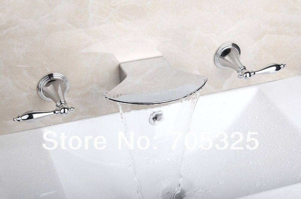 Wall Mount Waterfall Deck Mounted 3PCS  Bathtub Double Handles Chrome Polish Bathroom Basin & Sink Mixer Tap Faucet L-1268 deck mounted 5pcs brass body bathroom bathtub sink mixer tap chrome finish faucet set ly 12dd1