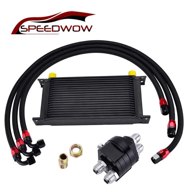 SPEEDWOW-19 Row AN-10AN Universal Thermostat Adaptor Engine Racing Oil Cooler Kit