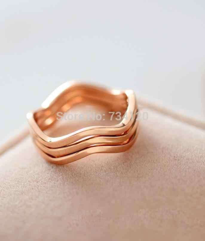 Hot ใหม่ผสมขายส่ง 16 มม.สั้น elegant คนรักแหวน joint pinky แหวน titanium แหวนทองแหวนผู้หญิง