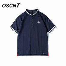 1cb567bc81 OSCN7 Curto Polo Manga Camisas Homens Plus Size Verão Casual Streetwear  Mens Polo T Camisas Polo Homme Moda