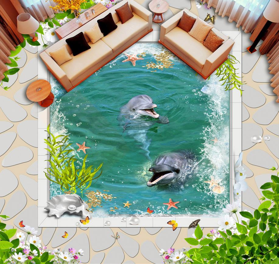 3d flooring White marble border dolphin pool 3d floor design pvc ...
