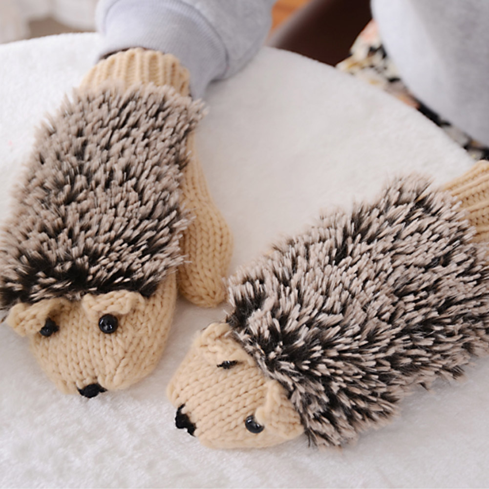 YJSFG HOUSE Women Winter Gloves Without Fingers Funny Cute Hedgehog Gloves Wool Cartoon Knitted Crochet Mitten Warm New Gloves