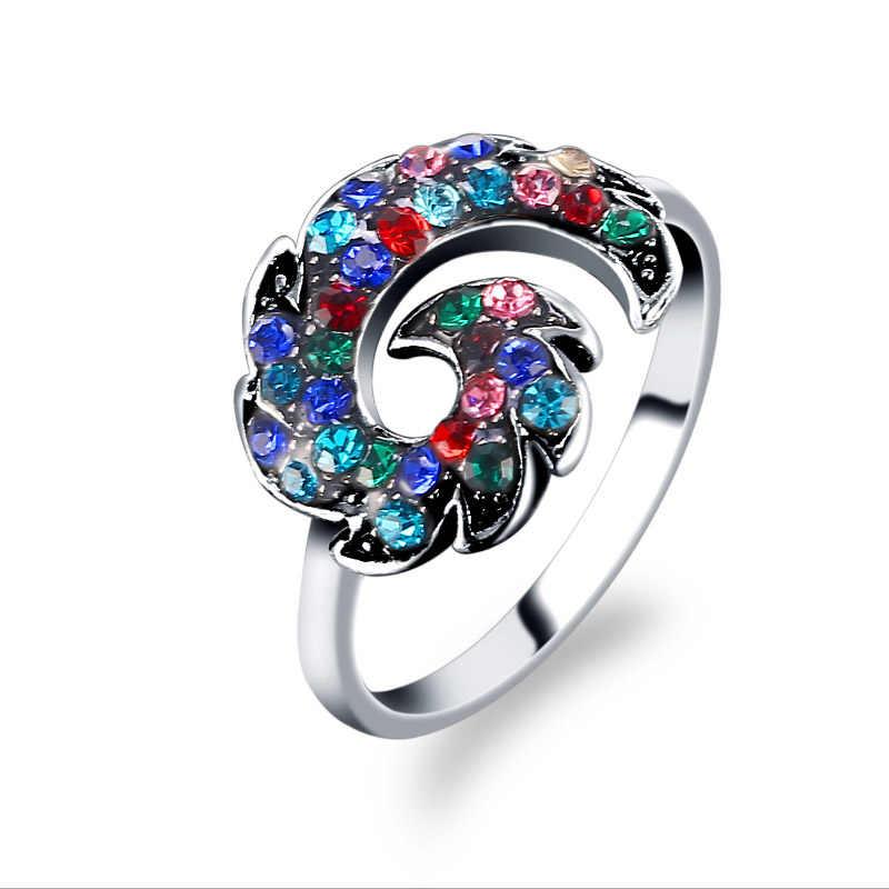 2018 最高品質の声明リングマイクロ舗装ジルコン石フェニックスの花の結婚式の婚約指輪パーティー