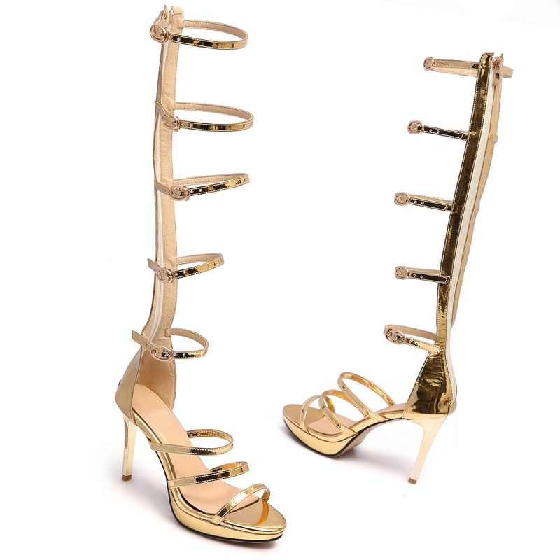 Women sexy suede leather Summer Sandals thin high heels party wedding Knee High gladiator women Casual Shoes gold silver chnhira 2017 suede gladiator sandals platform wedges summer creepers casual buckle shoes woman sexy fashion high heels ch406