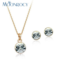 MOONROCY Free Shipping Necklace and Earrings Jewelry Set Rose Gold Color Round Shape Austrian Crystal Jewelry Set for women Gift