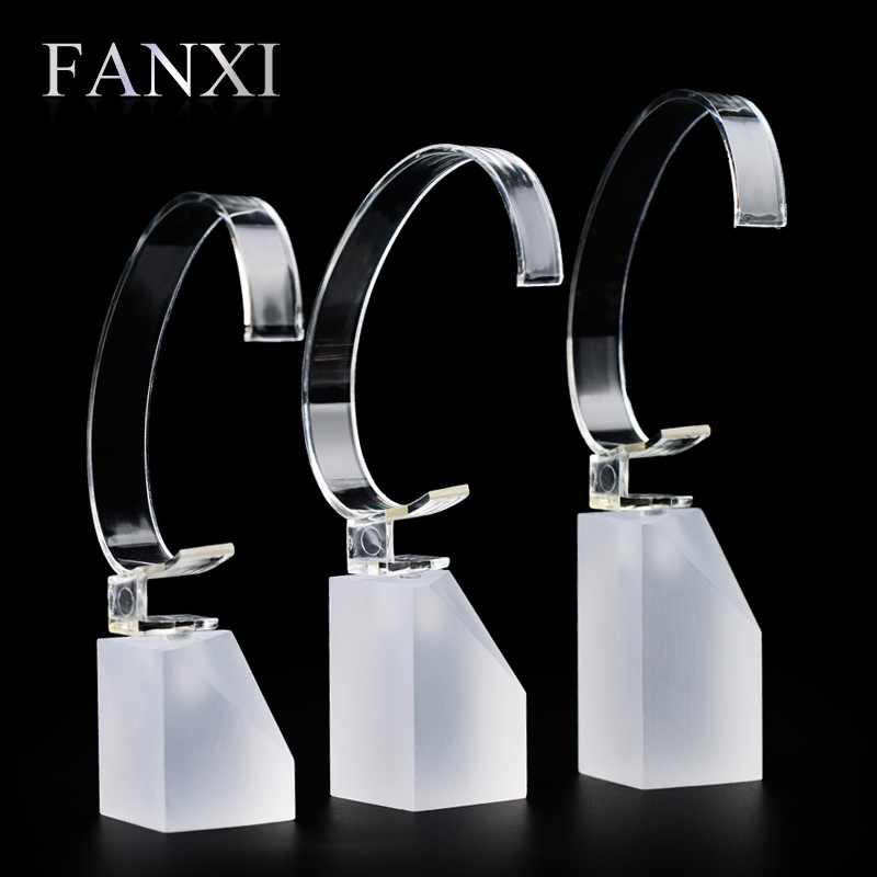 FANXI free shipping frosted acrylic pedestal jewelry shop display with transparent C-ring for watch exhibitor stand