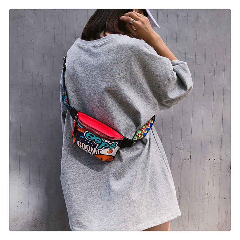Fanny Saco Da Cintura pacote Sacos pu bolsas de Couro Mulheres Cinto Personalidade Graffiti Peito Bolsa Com bolsa de Ombro Colorido Cinto 2019 venda quente