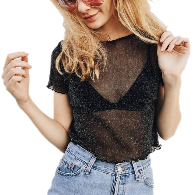 2018 Glitter Sheer Mesh Summer Tops Women Casual Perspective Hollow Out Blouse Female Sexy Shine Basic Short Fishnet Shirts Hot