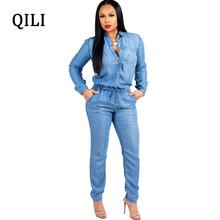 QILI Autumn Blue Denim Jumpsuits Women Long Sleeve Turn-Down Collar Button Pockets Lace Up Womens Plus Size Overalls