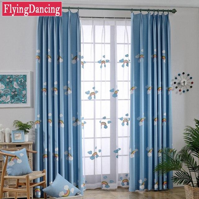 Kinder Nette Regenbogen Cartoon Vorhänge Blaue Fenster Vorhänge Für Baby  Kinderzimmer Schlafzimmer Weiß Sticken Tüll Sheer