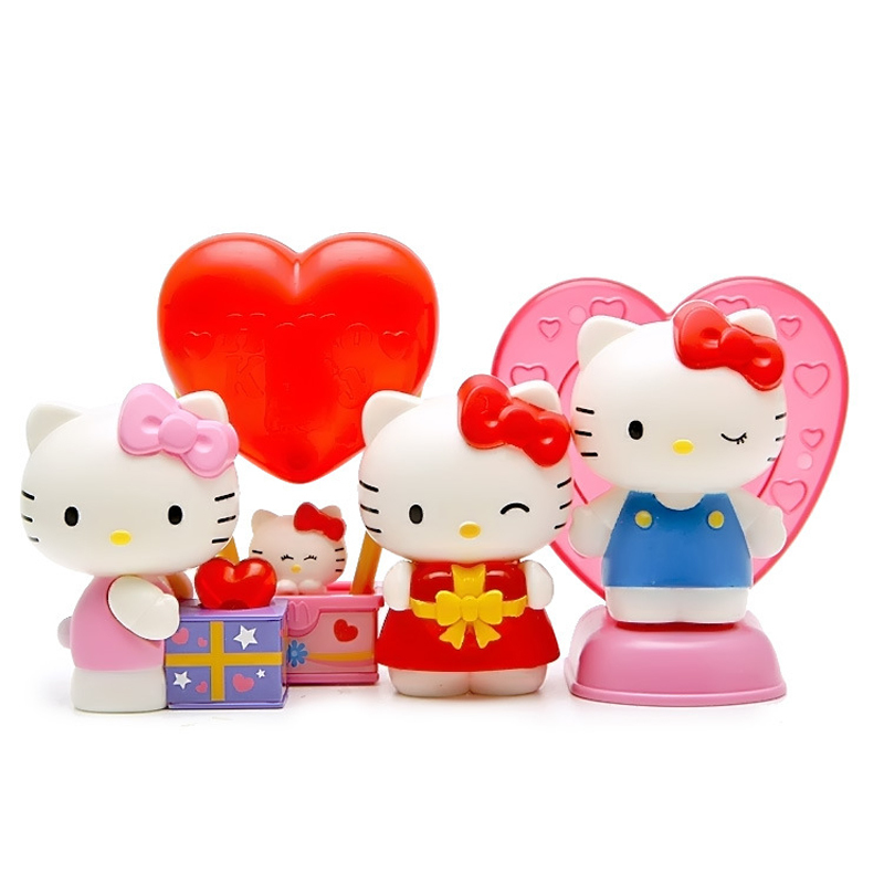 4pcs/set Hello Kitty Action Figure Lovely Hello Kitty With Light Action Figures Toy Collection Model Toys Doll Gift New in Box free shipping 1 pcs 7 5 19cm lovely small hold heart hello kitty plush toys baby toy hello kitty doll girls christmas gifts