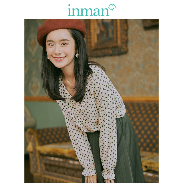 INMAN 2019 Autumn New Arrival Young Literary Style Lace V-neck Retro Wave Point Elegant Women Blouse