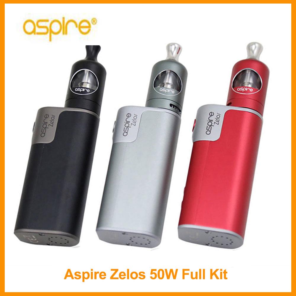 Prix pour D'origine aspire zelos kit 50 w boîte mod 2500 mah batterie 2 ml e-liquide aspire nautilus 2 réservoir 1.8ohm bvc bobine vaporisateur réservoir E-Cigarette