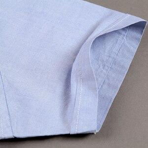 Image 5 - 2019 夏綿 100% の高品質ファッションビジネスの男性カジュアルシャツストライプ半袖シャツオックスフォードドレスシャツプラスサイズ