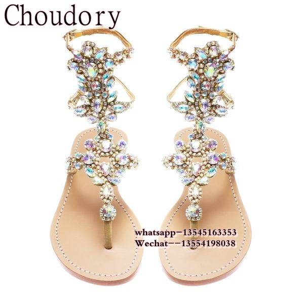 lower price with 99108 9cfd5 US $72.1 5% OFF|Women sandals comfort flat sandals Rhinestone Flip Flops  2017 women summer fashion beach sandals women casual shoes Size 35 43-in ...