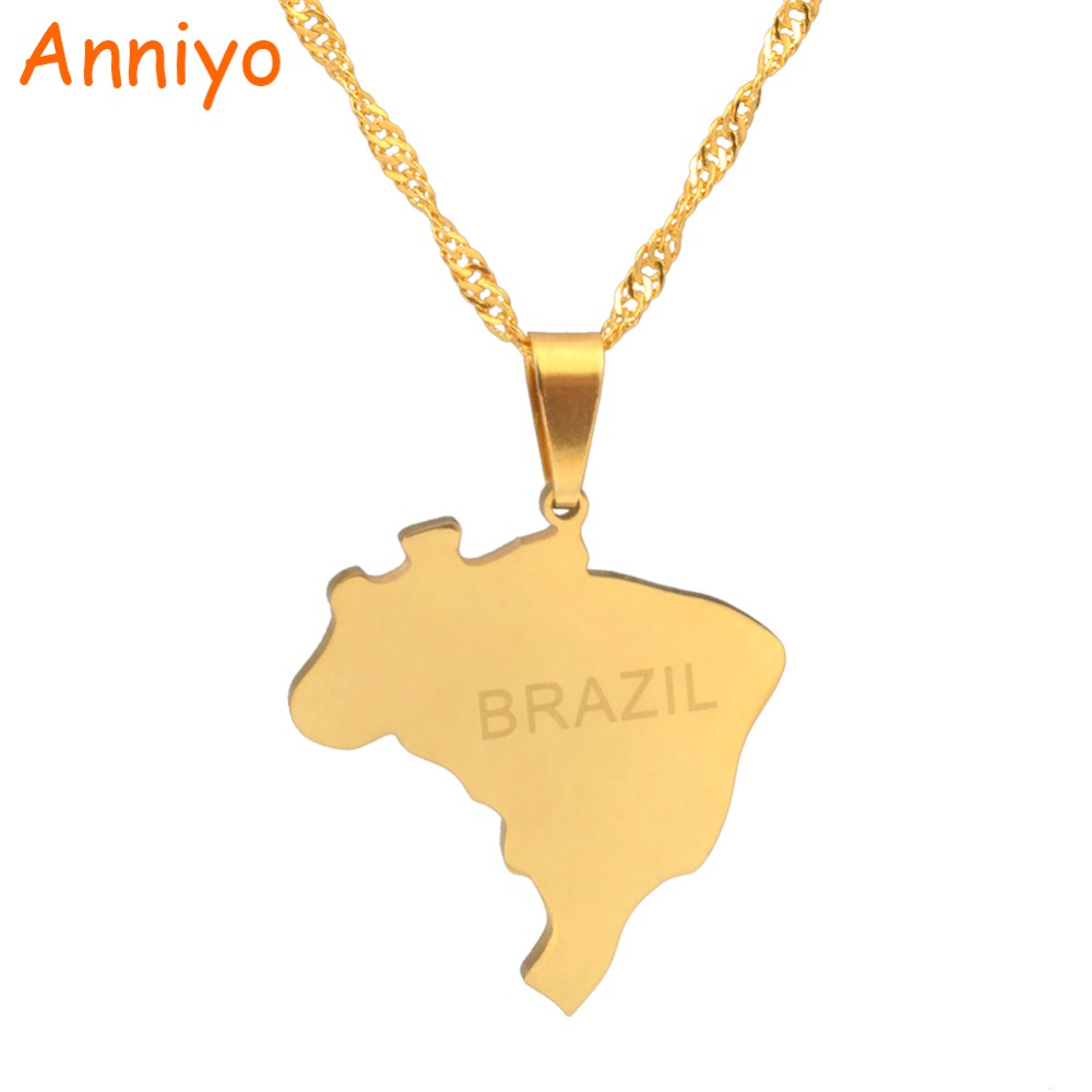 Anniyo Brazil Map Pendant & Necklace Brasil Maps Gold Color Jewelry Gifts #023921