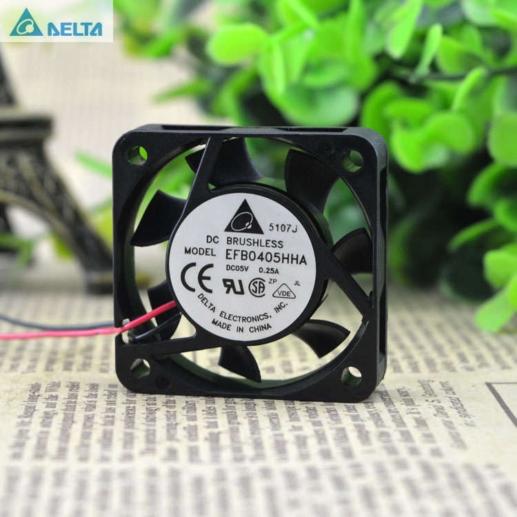 Delta EFB0405HHA 5V 0.25A 4CM 4010 2 wire dual ball bearing cooling fan delta 4010 asb0412ha fk2 7372 hydraulic bearing cooling fan with 40 40 10mm 12v 0 1a 3 wires for bridge chip