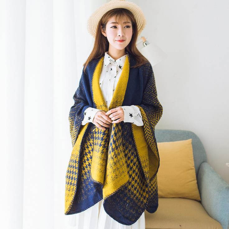 Women Poncho Winter Fall Wool Women Scarves Long Wraps Shawls Thick Warm Cotton Pashmina Cashmere Printed Womens Scarf