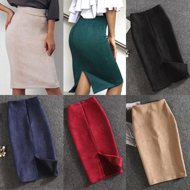 10 farben Frauen Röcke Plus Größe Knie-Länge Bleistift Rock Weibliche Vintage Wildleder Split Röcke Jupe Femme Faldas Mujer