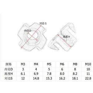 Image 5 - Écrou de haut parleur en Zinc à quatre griffes, M3 M4 M5 M6 M8 M10 10 pièces/lot
