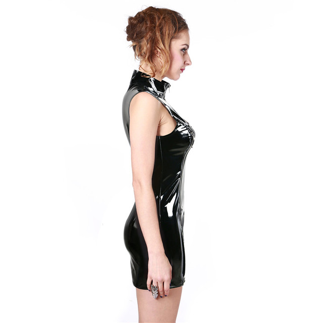 Plus Size Gothic Punk High Collar Sleeveless Women Black PVC Mini Dress  Shiny Zip Up Wet Look Vestido Leather Night Club Dress db65384b1b11