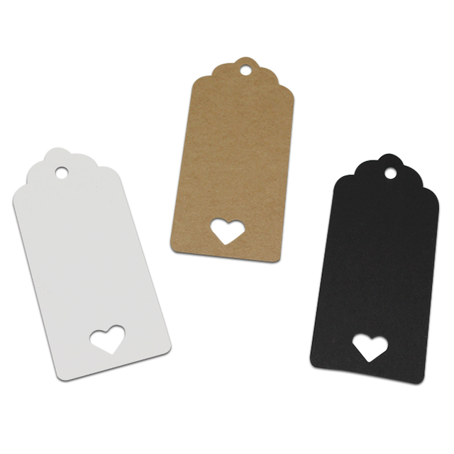 Hot Sale 100Pcs/ Lot Kraft Paper Labels Trunk Party Wedding Favor Price Marks Tags Packaging Label 3 Colors White, Black, Brown