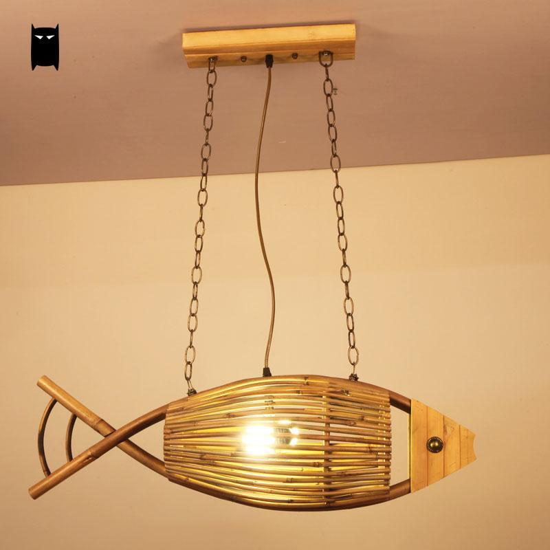 Handmade Craft Bamboo Fish Shade Pendant Light Fixture Vintage Industrial Retro Rural Style Hanging Lamp Restaurant Cafe Bar loft style vintage pendant lamp iron industrial retro pendant lamps restaurant bar counter hanging chandeliers cafe room